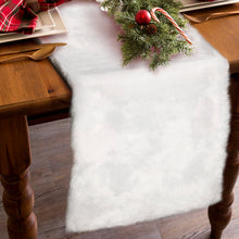Load image into Gallery viewer, OurWarm Luxury Christmas Table Runner Snowy White Faux Fur Table Runner for Christmas Table Decorations 15 x 72 Inch