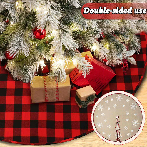 OurWarm Buffalo Christmas Tree Skirt, 48