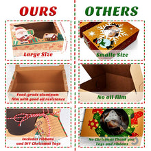 Load image into Gallery viewer, OurWarm 12 Pack Christmas Cookie Boxes with Window, Large Holiday Food Bakery Treat Boxes for Gift Giving, Pastry, Candy, Party Favors, Christmas Kraft Gift Boxes with Ribbons and DIY Gift Tags