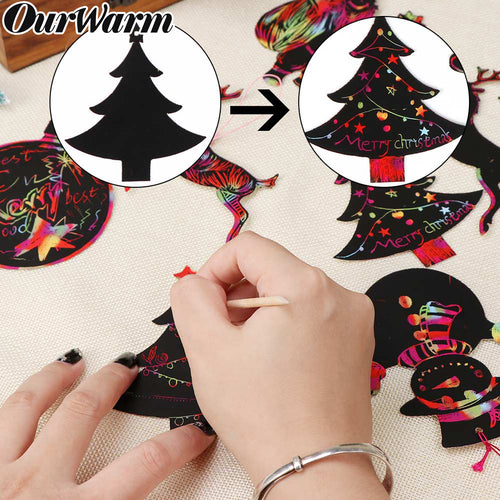 OurWarm 24Pcs New Year Christmas Tree Hanging Ornaments DIY Magic Color Scratch Art Paper Coloring Cards Christmas Gift for Kids