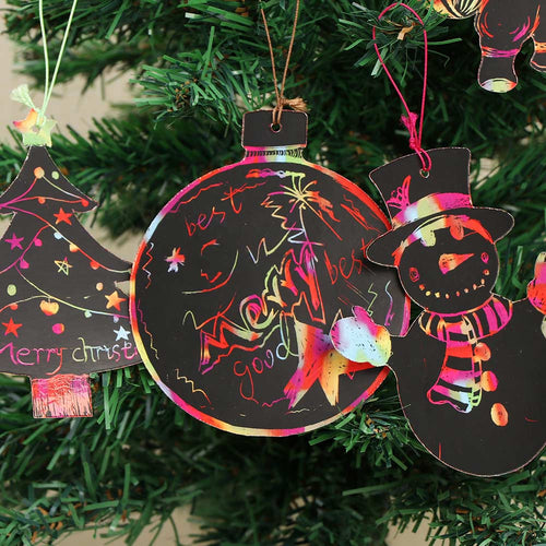 OurWarm 24pcs Christmas Gifts Ornaments DIY Paper Magic Color Scratch Drawing Kids Children Toys Christmas Party Decoration