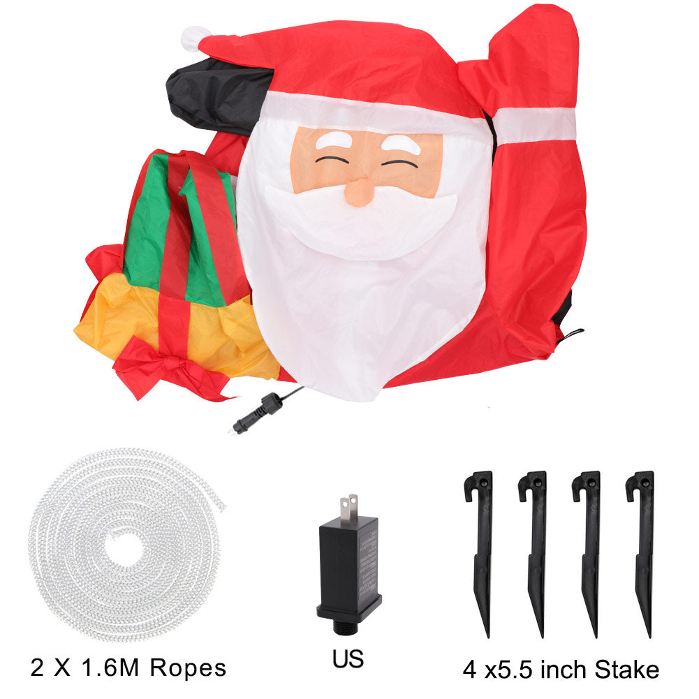 OurWarm 5ft Christmas Inflatables Greeting Santa with Light, Christmas Blow Up Yard Decoration for Christmas Yard Decoration Outdoor and Indoor Inflatables
