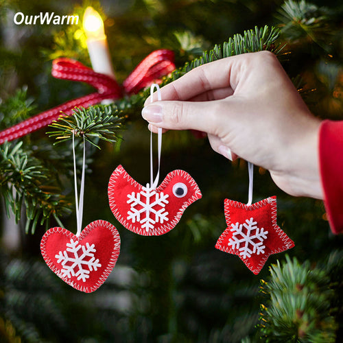 Ourwarm Christmas Tree Ornaments Red Fabric Bird Star Snowflake Hanging Fake Glass Christmas Party Decoration New Year