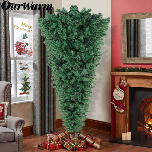 OurWarm 7ft Hanging Upside Down Artificial Christmas Trees with 1000 Branch Tips, Green PVC Xmas Tree with Foldable Metal Stand for Indoor Outdoor Holiday Christmas Decorations