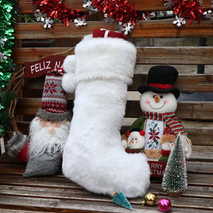 Ourwarm 2020 New Design Christmas Stocking Ornaments Decoration White Full Faux Fur Christmas Stockings Socks