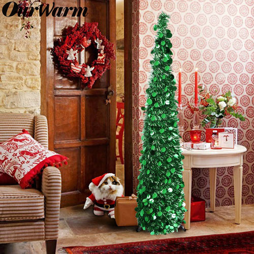 OurWarm 5ft Collapsible Christmas Tree, Green Tinsel Coastal Christmas Tree for Holiday Decorations