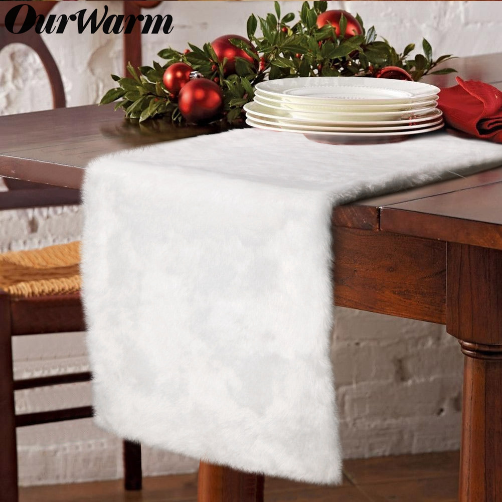 OurWarm Luxury Christmas Table Runner Snowy White Faux Fur Table Runner for Christmas Table Decorations 15 x 72 Inch