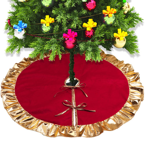 OurWarm Christmas Tree Skirt Xmas Tree Carpet Rug Base for Home Gold Stamping Red Color Christmas Party Decoration New Year 2019
