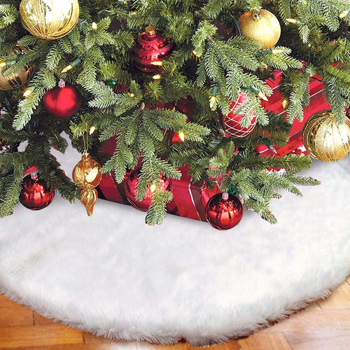 OurWarm Christmas Tree Skirt 48 Inch White Faux Fur Christmas Tree Skirt Luxury Tree Skirts for Holiday Decorations