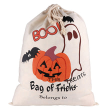 Load image into Gallery viewer, Halloween Treat Trick Sack Candy Gify Bags Canvas Cotton Spider Pumpkin Tote Drawstring Bags Pouch Halloween Party Decor