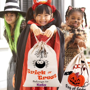 Halloween Treat Trick Sack Candy Gify Bags Canvas Cotton Spider Pumpkin Tote Drawstring Bags Pouch Halloween Party Decor