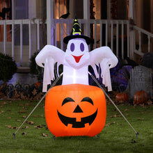 Load image into Gallery viewer, Outdoor Inflatable Horror Pumpkin Night LED Light Ghost Stand Halloween Party Decorations 142x87cm
