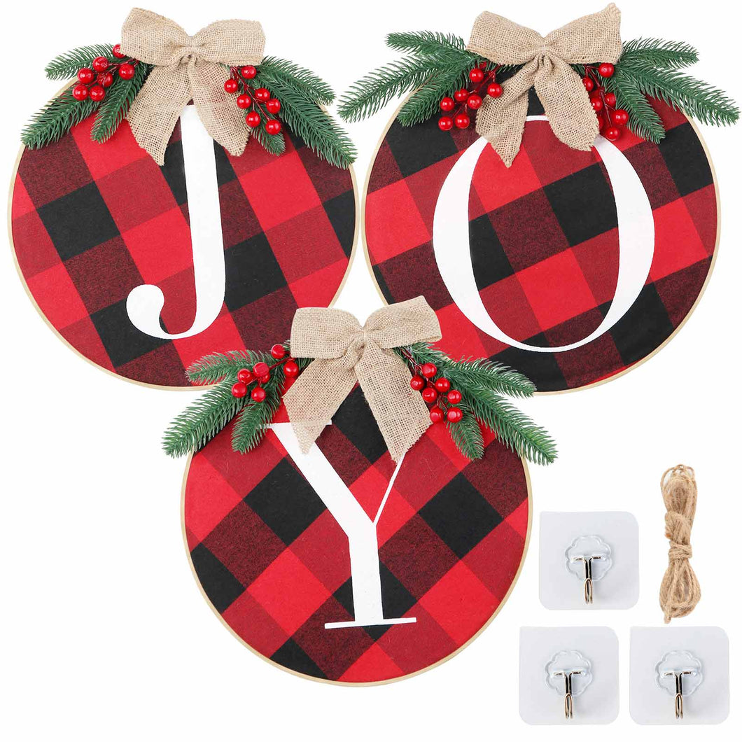 Ourwarm Cheery Christmas Decorations, Joy Sign - Buffalo Check Plaid Wreath for Front Door Rustic Burlap Wooden Holiday Decor for Home Window Wall Farmhouse Indoor Outdoor