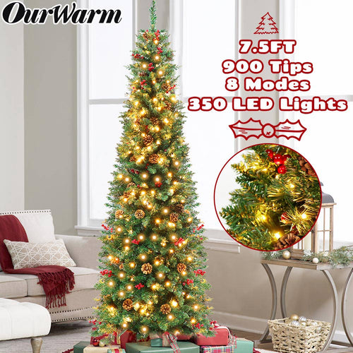 OurWarm 7.5ft Prelit Pencil Christmas Tree, LED Slim Christmas Tree with 350 Clear Lights, 900 Thicken Tips, Tall Skinny Pine Artificial Christmas Tree with 55 Berrys and 55 Pine Cones, Green