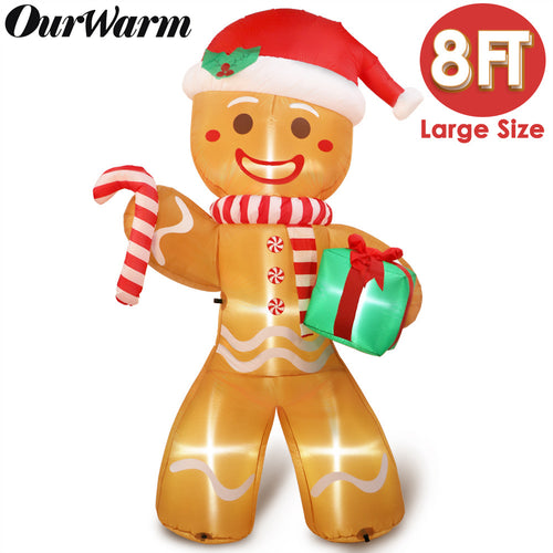 OurWarm 8ft Christmas Inflatables Blow Up Yard Decorations, Gingerbread Man with Bright LED Lights for Indoor Outdoor Christmas Yard Garden Decorations