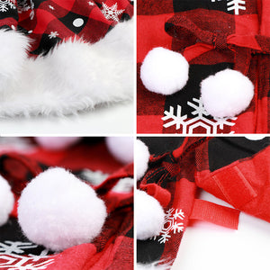 OurWarm Christmas Tree Skirt 48 Inch Luxury Buffalo Plaid Tree Skirt with Plush Faux Fur Trim for Rustic Christmas Holiday Decorations, White Snowflake Tree Skirt