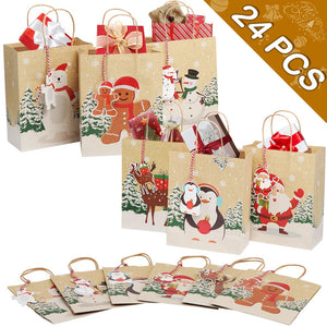 "OurWarm 24pcs Christmas Paper Gift Bags Assorted Kraft Holiday Paper Bags with Handles and Tags for Christmas Party Supplies Decor, 9"" x 7"" x 4"" Christmas Goody Treat Bags"