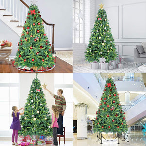 OurWarm 7.5ft Artificial Christmas Tree Lifelike Xmas Pine Tree for Indoor Outdoor Holiday Home Decorations with 1600 Branch Tips, Foldable Metal Stand, Bottle Green & Shallow Green