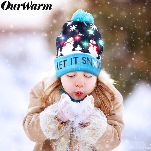 OurWarm Light Up Christmas Hat Snowman Ugly Christmas Beanie Hat with 6 Colorful LED Lights for Adults Xmas and New Year Party Supplies