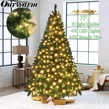 Load image into Gallery viewer, OurWarm Pre-Lit Christmas Tree 7ft Artificial Christmas Trees with Lights, UL-Certified 400 Lights for Holiday Decoration, 1300 Tips