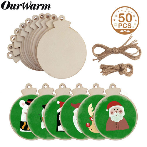 OurWarm OurWarm 50pcs Round Wooden Ornaments Unfinished with Hole, 4