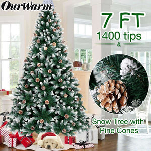 OurWarm 7FT Artificial Christmas Tree, Snow Flocked Christmas Tree with Pine Cones Xmas Pine Tree for Indoor Outdoor Holiday Decorations with Foldable Metal Stand, 1400 Branch Tips
