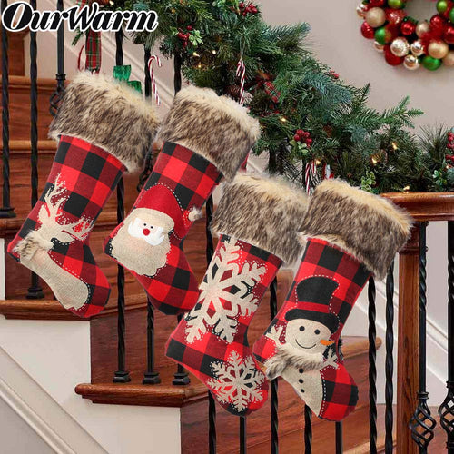 OurWarm 4Pcs Buffalo Plaid Christmas Stockings, Large 18 Inches Red and Black Buffalo Check Stockings with Plush Faux Fur Cuff for Christmas Decorations