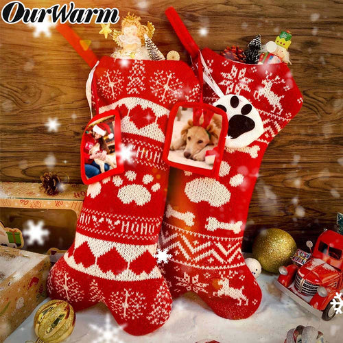 OurWarm 2pcs Pet Dog Christmas Stockings, Knit Christmas Stockings Large Bone Shape Pets Stockings for Dogs Christmas Holiday Decor