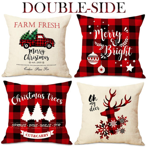 Aytai Farmhouse Christmas Throw Pillow Covers 18 x 18 Set of 4, Red and Black Buffalo Plaid Christmas Decorations Cotton Linen Cushion Covers Throw Pillow Cases
