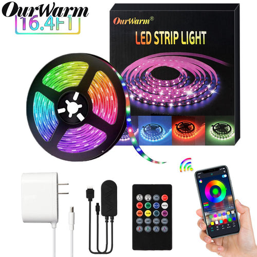 OurWarm LED Strip Lights for Bedroom 16.4ft SMD 5050 RGB Flexible LED Light Strip with 20key IR Remote Control + Bluetooth APP Controller Sync to Music Apply for TV, Bedroom, Party and Home Decoration