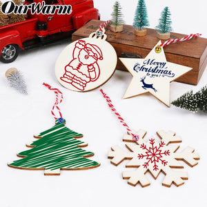 Ourwarm 40 Pcs Christmas Tree Ornaments Custom DIY Christmas Craft Slices Wooden Hanging Bauble