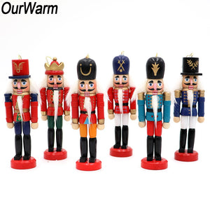 OurWarm 6pcs Christmas Russia Wooden Nutcracker Doll Christmas Tree Ornament Hanging New Year Gifts Christmas Party Decorations