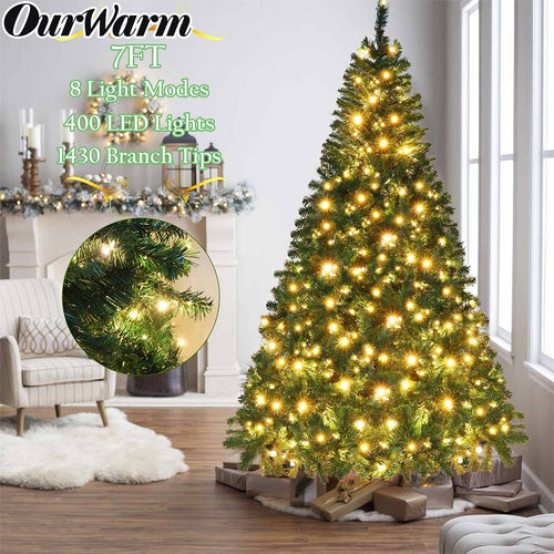OurWarm 7ft Pre-Lit Artificial Christmas Tree PVC Xmas Tree with 400 UL-Certified Warm White LED Lights and 1430 Branch Tips, Foldable Metal Stand, Green