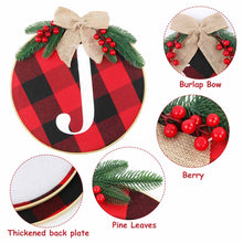 Load image into Gallery viewer, Ourwarm Cheery Christmas Decorations, Joy Sign - Buffalo Check Plaid Wreath for Front Door Rustic Burlap Wooden Holiday Decor for Home Window Wall Farmhouse Indoor Outdoor