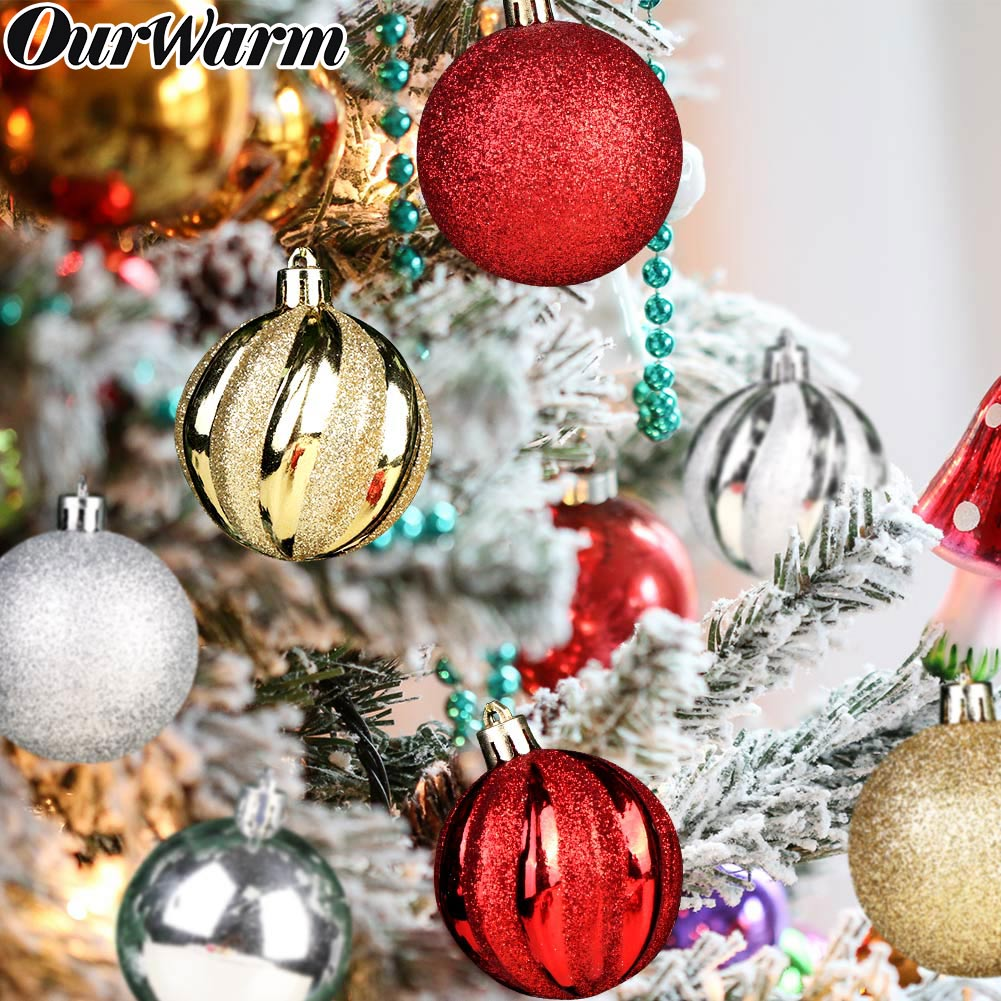 OurWarm 12PCS Multiple Christmas Ball Ornaments 6cm Plastic Baubles Xmas Tree Decor Hanging Ball For Home Christmas Decorations
