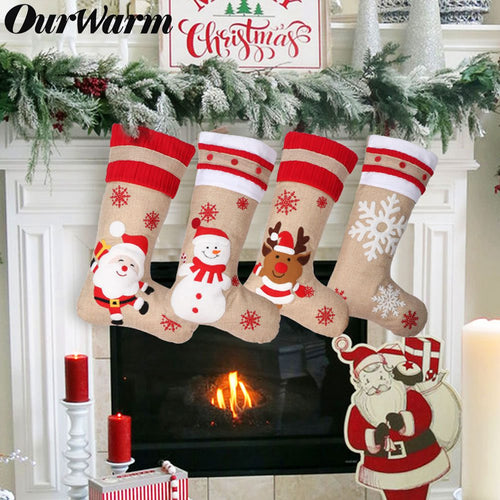 OurWarm 4 Pcs New Style Custom Rustic Farmhouse Sublimation Burlap Christmas Hessian Stockings For Embroidery