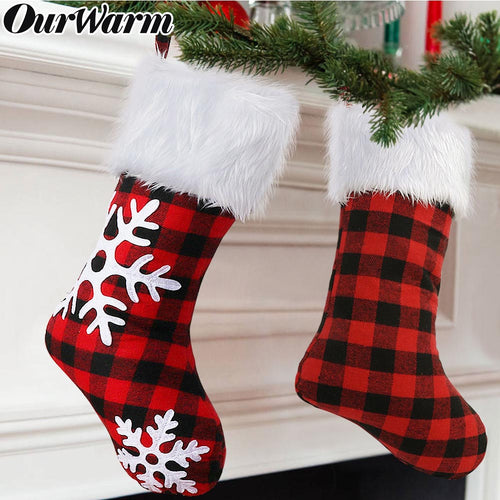 OurWarm 2 Pack Plaid Snowflake Christmas Stockings, 18 inch Large Red and Black Buffalo Check Christmas Stocking with Plush for Christmas Decoration