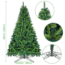 Load image into Gallery viewer, OurWarm 7.5ft Artificial Christmas Tree Lifelike Xmas Pine Tree for Indoor Outdoor Holiday Home Decorations with 1600 Branch Tips, Foldable Metal Stand, Bottle Green & Shallow Green