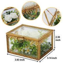 Load image into Gallery viewer, Aytai Glass Vintage Jewelry Box Golden Geometric Jewelry Display Organizer Keepsake Box Case Home Decorative Box for Storage Trinket Ring Earring Chest