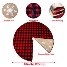 "Load image into Gallery viewer, Aytai Buffalo Christmas Tree Skirt, 48"" Red and Black Plaid & Burlap Reversible for Farmhouse Rustic Party"