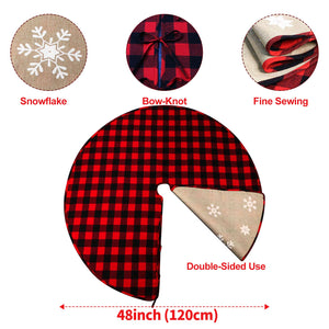 "Aytai Buffalo Christmas Tree Skirt, 48"" Red and Black Plaid & Burlap Reversible for Farmhouse Rustic Party"