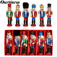 Load image into Gallery viewer, OurWarm 6pcs Glittery Nutcrackers Ornaments, Nutcracker Figures with Opening Mouths Christmas Decorations for Xmas Tree, Table Decor