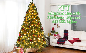 Aytai 7ft Pre-Lit Artificial Christmas Tree PVC Xmas Tree with 400 UL-Certified Warm White LED Lights and 1430 Branch Tips, Foldable Metal Stand, Green
