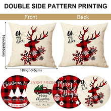 Load image into Gallery viewer, Aytai Farmhouse Christmas Throw Pillow Covers 18 x 18 Set of 4, Red and Black Buffalo Plaid Christmas Decorations Cotton Linen Cushion Covers Throw Pillow Cases