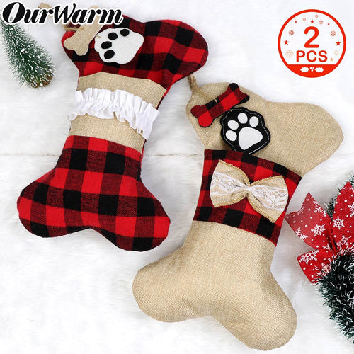 OurWarm Pet Dog Christmas Stockings Set of 2, Buffalo Plaid Christmas Stockings Large Bone Shape Hanging Pets Stockings for Dogs Christmas