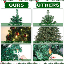 Load image into Gallery viewer, Aytai 7ft Pre-Lit Artificial Christmas Tree PVC Xmas Tree with 400 UL-Certified Warm White LED Lights and 1430 Branch Tips, Foldable Metal Stand, Green