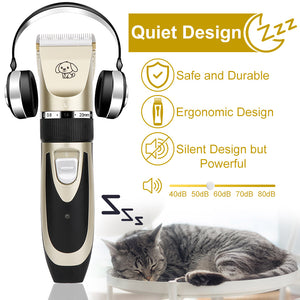 Pet Dog Hair Trimmer Animal Grooming Clippers Rechargeable Low-Noise