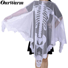 Load image into Gallery viewer, PartyTalk Halloween Poncho White Lace Skeleton Poncho for Women, Day of The Dead Costume