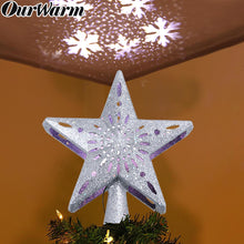 Load image into Gallery viewer, OurWarm Christmas Tree Topper Lighted Star Tree Topper with Rotating Snowflake Projector Lights, 3D Glitter Hollow Star Tree Topper for Christmas Tree Decorations