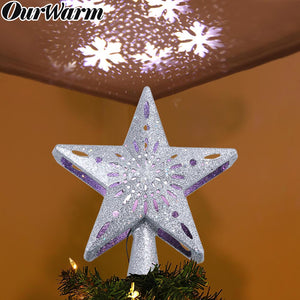 OurWarm Christmas Tree Topper Lighted Star Tree Topper with Rotating Snowflake Projector Lights, 3D Glitter Hollow Star Tree Topper for Christmas Tree Decorations